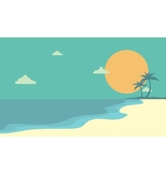 Landscape beach at sunset cartoon vector image