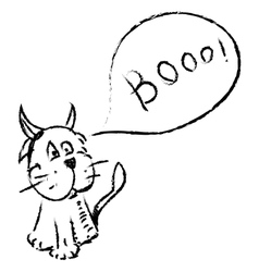 Cat with funny horns and speech bubble vector