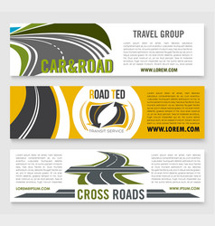 Travel road group company banners vector