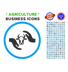 Cow protection hands rounded icon with set vector