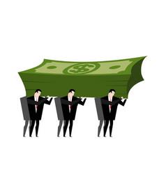 businessman carrying pile money business man vector image