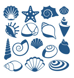 Sea shell silhouette icons vector