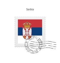 Serbia Flag Postage Stamp vector image