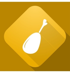 Icon of chicken leg with a long shadow vector