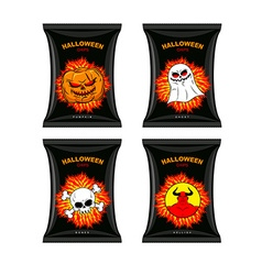 Set chips for halloween terrible food for holiday vector