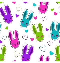 Seamless pattern with bunnies and hearts vector