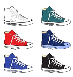Unisex outlined template sneakers set vector