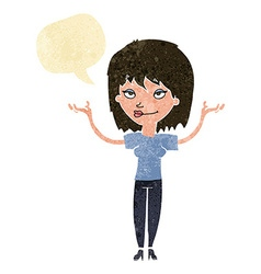 Cartoon woman shrugging with speech bubble vector