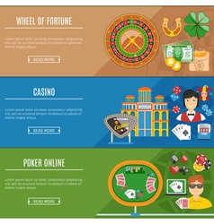 Casino and gambling flat banners set vector