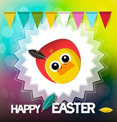 Happy Easter Card with Chicken Flags and Retro vector image