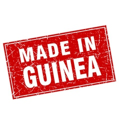 Guinea red square grunge made in stamp vector