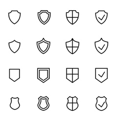 Line shield icon set vector