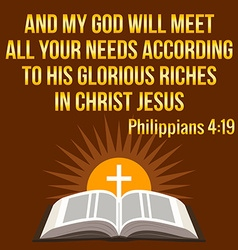 Christian motivational quote and my god will meet vector