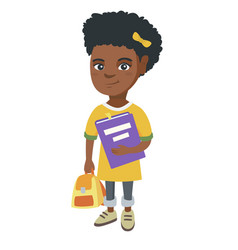 African-american pupil with backpack and textbook vector