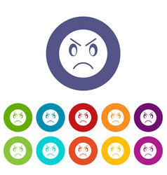 Annoyed emoticon set icons vector
