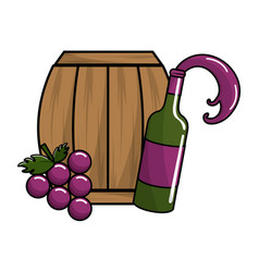 Barrel and bottle wine with grape fruit vector