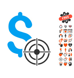 Business target icon with love bonus vector