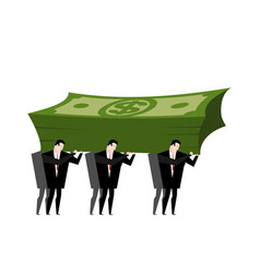 Businessman carrying pile money business man vector