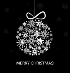 Christmas greeting card with white balls vector