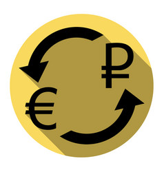 Currency exchange sign euro and russia rouble vector