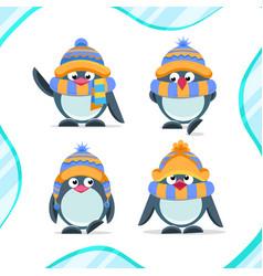 Cute hand drawn penguins set vector