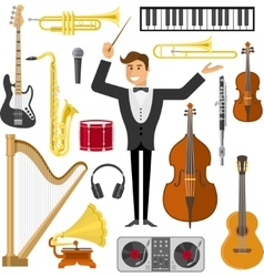 Flat Music Icon Set vector image