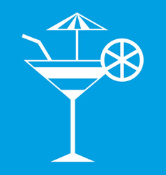 Fruit cocktail icon white vector