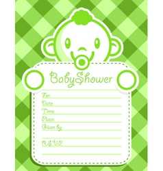 Green Baby Boy Invitation vector image vector image