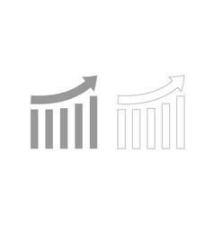 growing graph grey set icon vector image