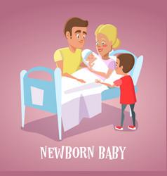 Happy mother holding newborn baby in hospital room vector