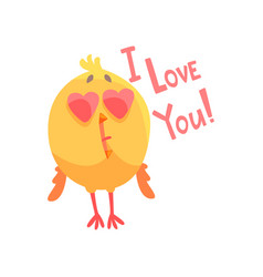 i love you funny cartoon comic chicken with heart vector image vector image