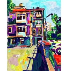 Original plein air digital oil painting town old vector