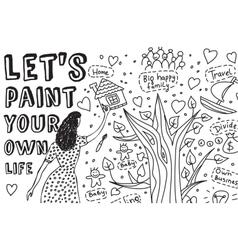 Paint life art hand draw women dreams monochrome vector