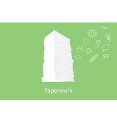 paper work document with icon flying on the right vector image vector image