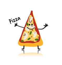 pizza slice character sketch for your design vector image vector image