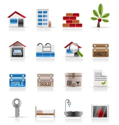 realistic real estate icons vector image vector image