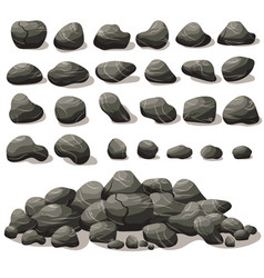 Rock stone cartoon in isometric flat style set of vector