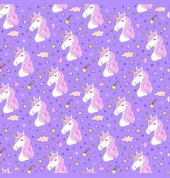 seamless pattern of hand drawn unicorns vector image