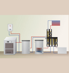 Solid fuel and electric boiler vector