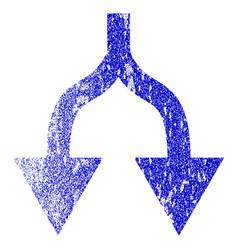 Split arrows down grunge textured icon vector