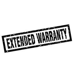 square grunge black extended warranty stamp vector image vector image