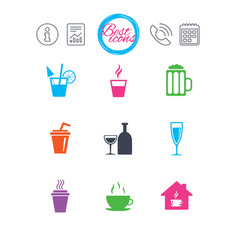 tea coffee and beer icons alcohol drinks vector image vector image