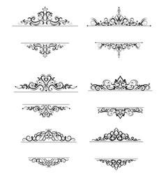Vintage swirl frame set vector