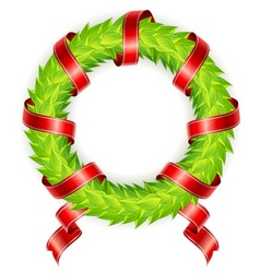 wreath ribbon vector image vector image