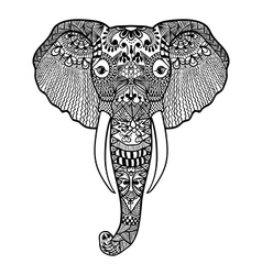 Zentangle stylized elephant hand drawn lace vector