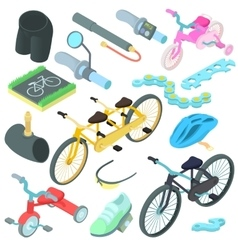 Biking icons set cartoon style vector