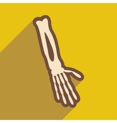 Flat icon with long shadow bones of human hand vector