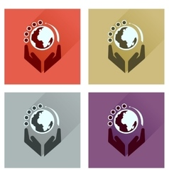 Concept of flat icons with long shadow Earth hands vector image