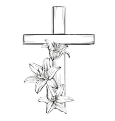 cross and floral blooming lilies a symbol of vector image