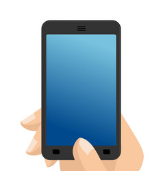 Photo on smartphone hand holding screen phone vector